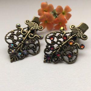 Accessories - 2 antique brass Swarovski embellished hair clips